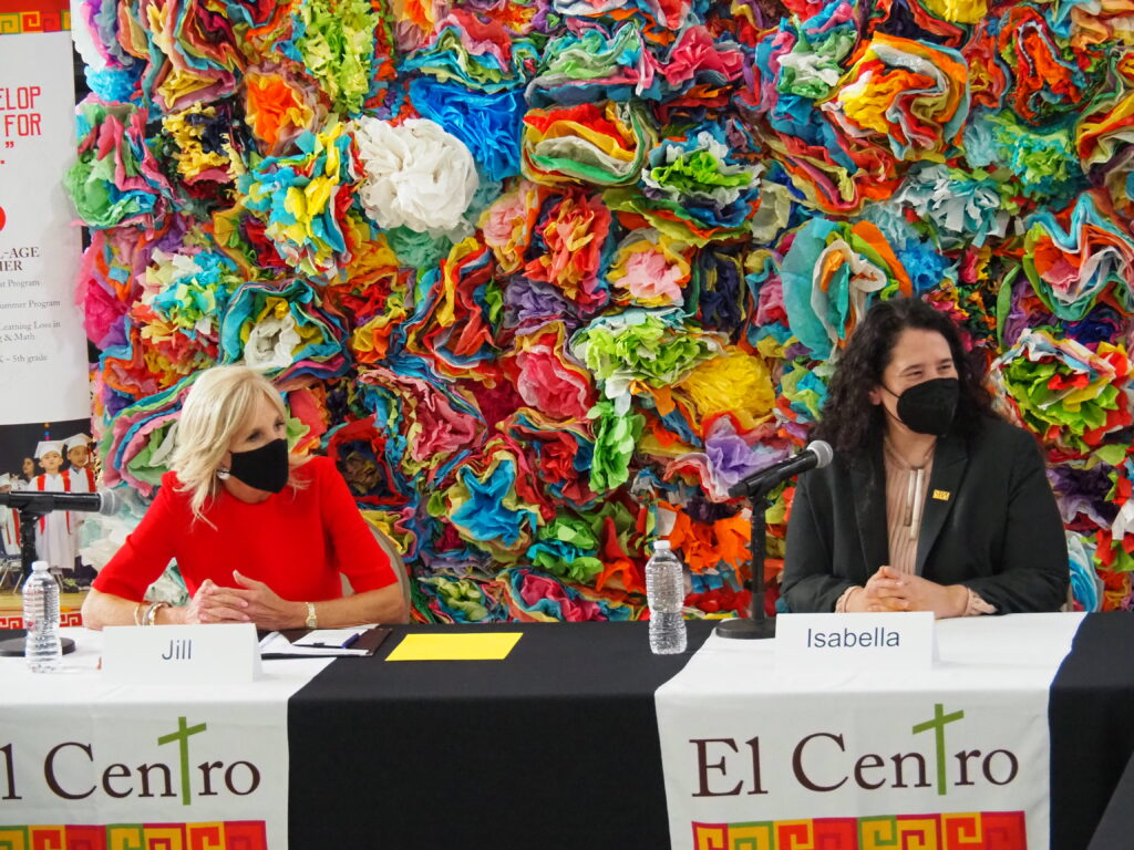 First Lady Jill Biden and Isbella Guzman, administrator of the U.S. Small Business Administration, visited El Centro in Kansas City, Kansas, to learn more about the experience of Hispanics living in the region. (Tim Carpenter/Kansas Reflector)