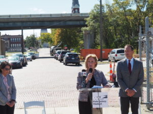 Julie Lorenz, secretary of the Kansas Department of Transportation, said the states new 10-year transportation program would help bring about overhaul of the I-70 viaduct in Topeka and assist with economic development in Kansas. (Tim Carpenter/Kansas Reflector)